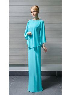 2-Piece Chiffon Dress + Cape