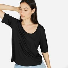 Elevated finishing touches and premium fabric separate this tee from the rest.  100% cotton This mercerized cotton fabric has a sleek and refined finish with a subtle luster  Features an A-line silhouette, clean bonded hem, and high crew collar Machine wash cold, tumble dry low