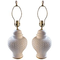 Pair of White ceramic filegree Ginger Jar with lamp application | From a unique collection of antique and modern table lamps at https://www.1stdibs.com/furniture/lighting/table-lamps/
