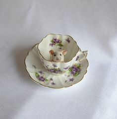 Taxidermy mouse in tea cup. by NimbleMatters on Etsy, $40.00