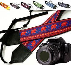 Elephant camera strap. Ethnic camera strap. DSLR Camera Strap. Camera accessories. Canon Nikon camera strap.  You can find here other camera straps: