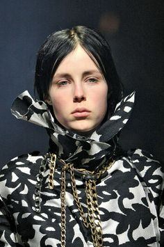 Edie Campbell in graffiti monochrome and chains at Lanvin AW14. More images here: http://www.dazeddigital.com/fashion/article/19077/1/lanvin-aw14