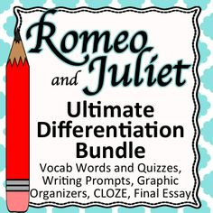 """73 pages of differentiated and CCSS aligned vocabulary, writing prompts, and activities for """"Romeo and Juliet."""""""