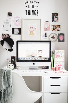 Outrageously Feminine Supplies for Office Design: minimalist white computer desk also feminine office supplies feat cute wall decor with photos and quote idea