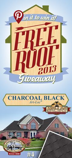 Re-pin this gorgeous Art-Loc Charcoal Black Shingle for your chance to win in the Sherriff-Goslin Pin It To Win It FREE ROOF Giveaway. Available in Sherriff-Goslin service area only. Re-pin weekly for more chances to win! | Stay Updated! Click the following link to receive contest updates. http://www.sherriffgoslin.com/repin Learn More about this shingle here: http://www.sherriffgoslin.com/tabbed.php?section_url=140