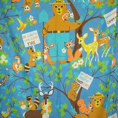 "https://flic.kr/p/7RCLnr | Vintage SMOKEY THE BEAR Twin Sheet | Vintage Smokey the Bear twin sheet (or fabric for crafters/sewers) by Fieldcrest. Great bright colors with Smokey the Bear and all his animal friends holding signs with phrases about preventing forest fires like ""Break your Matches"" and ""Drown every Campfire."" Very cool!"