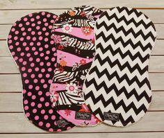 Baby Girl Burp Cloths - Set of 3 - Floral, Pink Polka Dot & Black Chevron Burp Cloths with White Chenille - Baby Girl Burp Cloth Set by ChristyRaynDesigns on Etsy