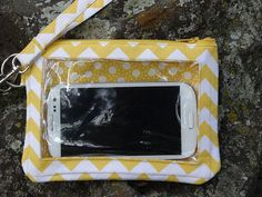 Larger Cell Phone Wallet Yellow Chevron by StitchingInTheTrees, $30.00
