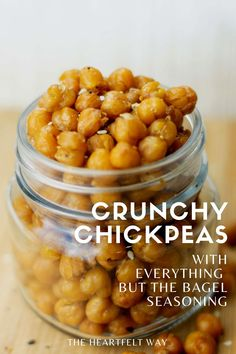 Looking for a healthy vegan, high protein snack? These crunchy chickpeas are made with the famous #traderjoes Everything but the Bagel seasoning and are totally giving us Corn Nuts vibes! Pop 'em in your mouth on-the-go and enjoy this #healthyrecipe. #veganrecipes #glutenfree #veganprotein #chickpearecipes #vegansnacks #theheartfeltway |The Heartfelt Way Crunchy Chickpeas, Trader Joes, Chana Masala, Vegan Gluten Free, Bagel, Allergies, Healthy Snacks, Ethnic Recipes, Food