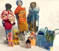 """""""Things We Carry. Our Bodies as Home. Belongings as Home/Cultural, Familial Baggage, DNA."""" Sculptures with paint on fabric, hand formed glass beads, embroidery, stiffener, stuffing. Dimensions variable. 2016."""