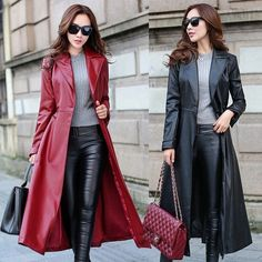 Formal Women's Long Trench Coat Faux Leather Slim Jacket Windbreaker Outerwear in Clothing, Shoes & Accessories, Women's Clothing, Coats & Jackets | eBay