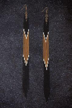 Long Seed Bead Fringe Earrings