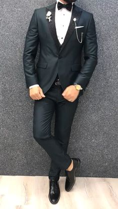 Collection: Spring Summer 2019 Product: Slim Fit Tuxedo Color Code: Green Size: Suit Material: viscose polyester Machine Washable: No Fitting: Slim-fit Package Include: Jacket Vest Pants Only Gifts: Shirt Chain and Bow Tie Barboor Slim Fit Tuxedo - Green Blazer Outfits Men, Stylish Mens Outfits, Outfits For Men, Slim Fit Tuxedo, Tuxedo For Men, Tuxedo Suit, Indian Men Fashion, Mens Fashion Suits, Wedding Dresses Men Indian