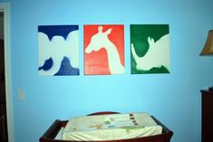"""Any """"shape"""" would work.  Stars and horse shoes in WPD's room I think...DIY Animal Art:  You can make these in about 30 minutes and they are very inexpensive!"""