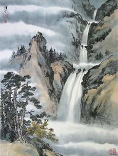 japanese waterfall painting에 대한 이미지 검색결과