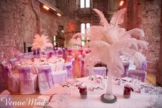 Decoration, Charming Wedding Table Decorations Design Ideas With Pink Feather Table Decorations Lulworth Wedding And Use Round Table: Inspiring Wedding Table Decoration Design Ideas For Your Plan Green Wedding Centerpieces, Feather Centerpieces, Reception Table Decorations, Wedding Decorations, Centrepieces, Wedding Reception Planning, Reception Party, Wedding Receptions, Party Planning
