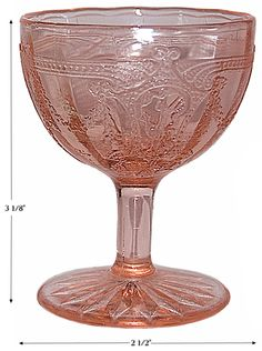 Hocking Cameo Extremely RARE Pink Low Footed Wine Goblet