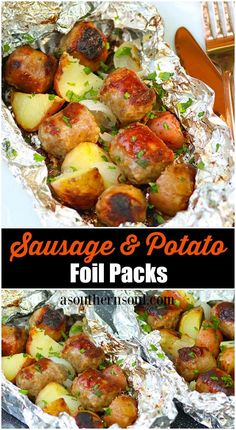 Sausage and Potato Foil Packs are a delicious dinner short cut that just can't. - Sausage and Potato Foil Packs are a delicious dinner short cut that just can't be beat! Foil Packet Dinners, Foil Pack Meals, Foil Dinners, Foil Packets, Foil Potatoes, Sausage Potatoes, Foil Packet Potatoes Grill, Grilled Sausage, Camping Meals