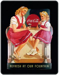 This cross stitich pattern is a vintage Coca Cola ad showing two girls drinking cola.The entire pattern is full cross stitches - no blending or specialty stitches. Pattern details: Two Girls Drinking Coca Cola Fabric:Aida White X Stitches Count, X in Coca Cola Poster, Coca Cola Ad, Always Coca Cola, World Of Coca Cola, Coca Cola Bottles, Coca Cola Vintage, Vintage Advertising Posters, Vintage Advertisements, Vintage Ads