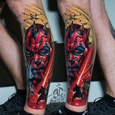 Search inspiration for a Realistic tattoo. Half Sleeve Tattoos Drawings, Arm Sleeve Tattoos, Leg Tattoos, Body Art Tattoos, Tattos, Dark Maul, Great Tattoos, Tattoos For Guys, Hannya Mask Tattoo