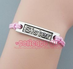 Simple Sister bracelet Sister jewelry Silver/bronze charm Pink rope Choose your color Graduation gift Friendship bracelet by DelicateGift on Etsy, $0.99