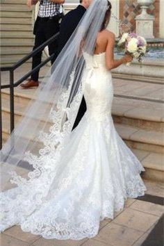 Mermaid wedding dress: the 50 are the most beautiful - wedding dresses- ladies fashion.de - bridal dress mermaid wedding dress: the 50 are the most beautiful - Dream Wedding Dresses, Wedding Dress With Veil, Lace Trumpet Wedding Dress, Mermaid Dress Wedding, Lace Fishtail Wedding Dress, Wedding Attire, The Dress, Dress Lace, Lace Gowns