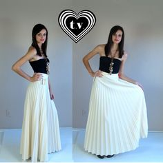 vtg 70s CREAM Knife PLEATED high waist Maxi by TigerlilyFrocks