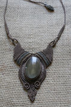 Goldsheen Obsidian Macramé Necklace by TribuTribu on Etsy