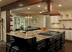 Ideas Spellbinding Kitchen Island Designs With Stove Top Using 5 Burner Gas  Cooktop With Griddle And Raised Granite Breakfast Bar Alongside Brushed  Nickel ...