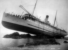 "William Howard Case's picture of the Canadian Pacific Railroad Co. steamer ""Princess May"" after she hit a reef off Sentinel Island, Alaska on August 5, 1910. After the tide ran out, the ship was stranded on the reef for nearly a month before being removed with tugboats...strong hull!"