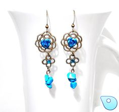 Blue rose earring Medieval earring Flower by CervelleDoiseau