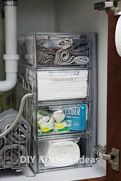 52 Trendy Kitchen Cabinets Organization Under Sink Cleaning Supplies Kitchen Sink Organization, Sink Organizer, Bathroom Organization, Bathroom Storage, Organization Hacks, Kitchen Storage, Bathroom Ideas, Organizing Ideas, Organizing Kitchen Drawers