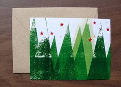 Set of 8 / Holiday Greeting Cards / Snow Trees / by punchpaper