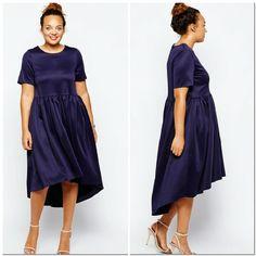 Cute Plus Size Dress Dark Blue short slv hi-lo hem dress. Dress has shirring at waist seam for skirt fullness. Poly/elasthane. UK size 18/US size 16 or XL Asos Curve Dresses