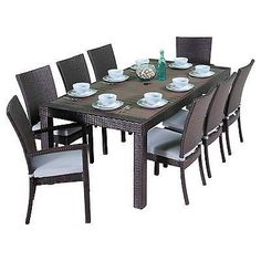 RST Brands Deco 9-piece Outdoor Dining Set Table and Chairs Bliss Blue