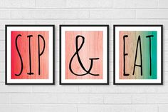Dining Room Art - Kitchen Prints Wall Art - Modern Set of 3 Sip Wine and Eat Food - Ombre 8x10 Signs Decor Red, Coral, Turquoise / Aqua on Etsy, $40.00