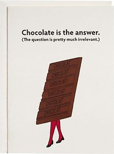 Chocolate Is The Answer Greeting Card