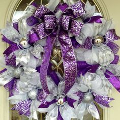 "Large 24"" round Christmas purple, silver and white deco mesh wreath with silver non-breakable ornaments."