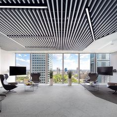 Office ceilings Simple Ceilings Europe On Instagram metal Baffles Complemented By Circular Mineral Canopies Bring Both Ends Of The Visual Spectrum To The Polish Offices Of Vintage Industrial Style 248 Best Ceilings For Offices Images In 2019 Metal Ceiling Office