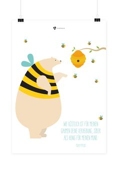 """Bibelvers auf dem Poster: """"Wie köstlich ist für meinen Gaumen deine Verheißung, süßer als Honig für meinen Mund."""" - Psalm 119,103"""