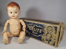 "VINTAGE 1950s BOXED 10"" PEDIGREE DELITE HARD PLASTIC BENT-LIMB BABY DOLL"