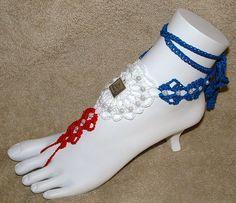 Barefoot SandalsBeach JewelryHand Crochet by gilmoreproducts33, $15.00