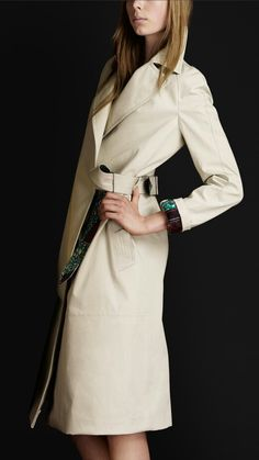 Burberry knee length wrap around trench