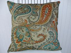 Orange Blue Paisley Pillow Cover- NEW!! 18x18 or 20x20 or 22x22 Decorative Throw Pillow- Accent Pillows