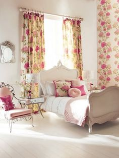 Cute and Feminine Bedroom Interior Design with Flowers Decoration Charming Bedroom Interior Decoration with Excellent Furniture Floral Bedroom, Feminine Bedroom, Bedroom Colors, Bedroom Decor, Floral Curtains, Bedroom Ideas, Bedroom Curtains, White Bedroom, Floral Fabric