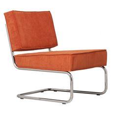 ZUIVER Krzesło lounge RIDGE RIB ORANGE AnOther DESIGN