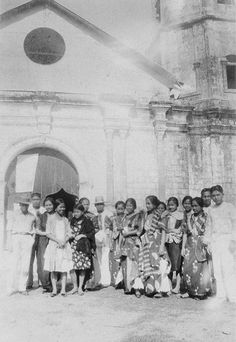 A group in front of a church, Early , Philippines Philippines Outfit, Philippines People, Miss Philippines, Manila Philippines, Old Pictures, Old Photos, Filipino Fashion, Filipino Culture, Filipiniana