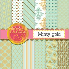 Mint and gold digital paper mint and gold by GemmedSnail on Etsy  https://www.etsy.com/listing/197124233/mint-and-gold-digital-paper-mint-and?ref=shop_home_active_15