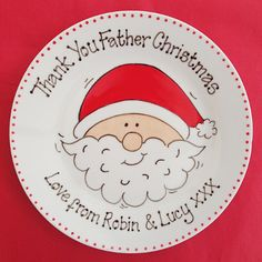 Copyright for this design belongs to Amanda Kilbride/www.bluebellecreate.co.uk. Under no circumstances can this design be recreated or copied in any form. Christmas Plate. Cute mince pie plate for Santa - Available in two sizes Create your own cute family tradition on Christmas Eve with our cute mince pie plate. Personalised how you want from £14.50 delivered. Permanent fully usable plate (not sharpie) www.bluebellecreate.co.uk
