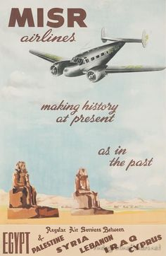 MISR Airlines - Regular air services between Egypt & Palestine, Syria, Lebanon, Iraq and Cyprus Locatd Egypt circa 1940